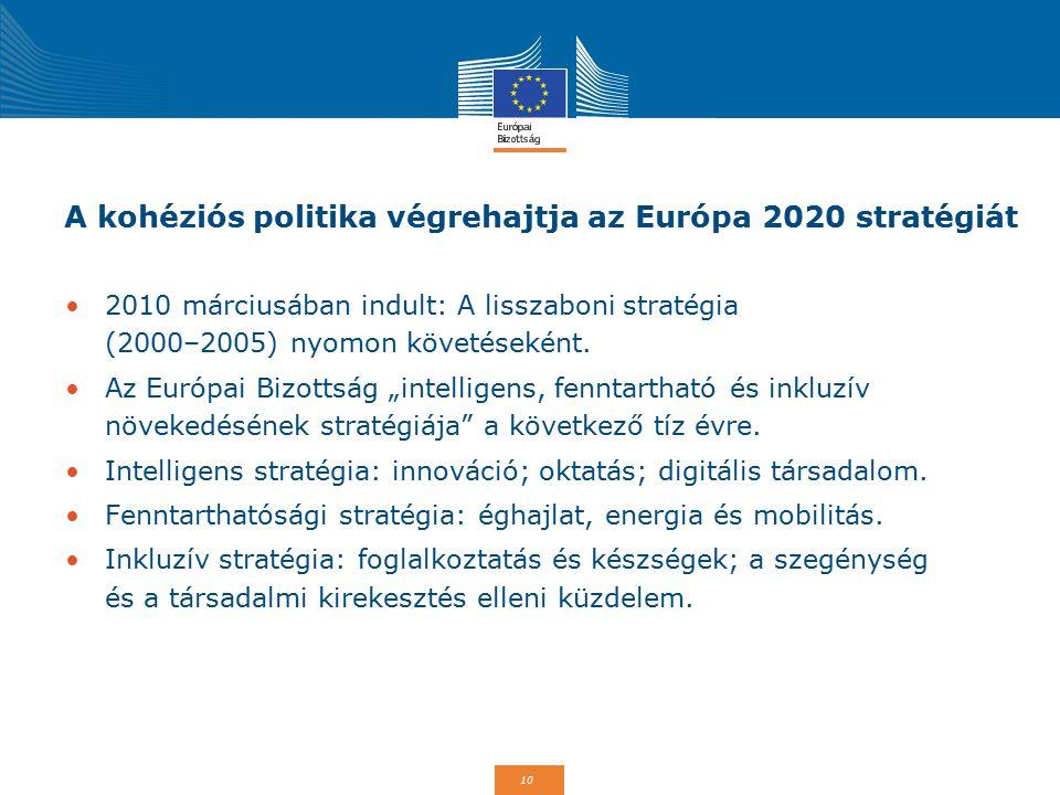 10 A kohéziós politika végrehajtja az Európa 2020 stratégiát 2010 márciusában indult: A lisszaboni stratégia (2000–2005) nyomon követéseként. Az Európ