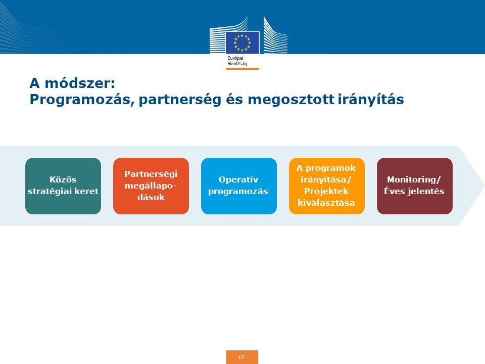 15 A módszer: Programozás, partnerség és megosztott irányítás Közös stratégiai keret Partnerségi megállapo- dások Operatív programozás A programok irányítása/ Projektek kiválasztása Monitoring/ Éves jelentés