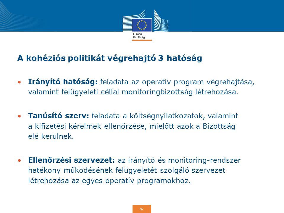 16 A kohéziós politikát végrehajtó 3 hatóság Irányító hatóság: feladata az operatív program végrehajtása, valamint felügyeleti céllal monitoringbizott