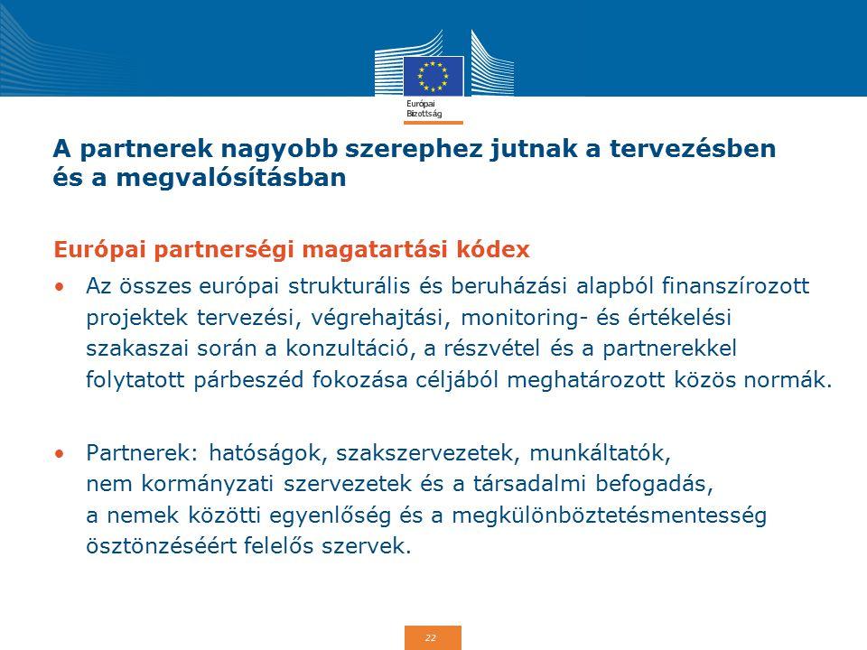 22 A partnerek nagyobb szerephez jutnak a tervezésben és a megvalósításban Európai partnerségi magatartási kódex Az összes európai strukturális és beruházási alapból finanszírozott projektek tervezési, végrehajtási, monitoring- és értékelési szakaszai során a konzultáció, a részvétel és a partnerekkel folytatott párbeszéd fokozása céljából meghatározott közös normák.