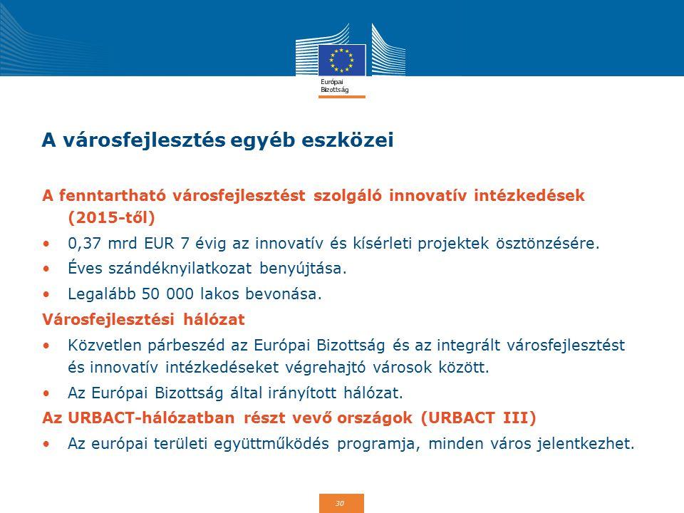 30 A városfejlesztés egyéb eszközei A fenntartható városfejlesztést szolgáló innovatív intézkedések (2015-től) 0,37 mrd EUR 7 évig az innovatív és kísérleti projektek ösztönzésére.