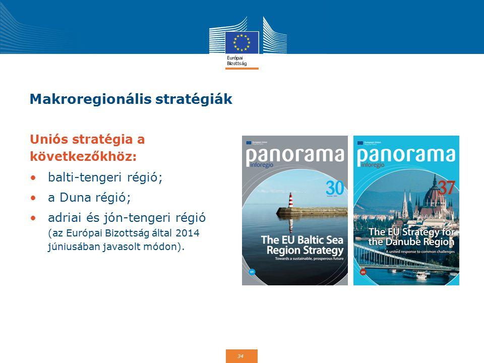 34 Makroregionális stratégiák Uniós stratégia a következőkhöz: balti-tengeri régió; a Duna régió; adriai és jón-tengeri régió (az Európai Bizottság által 2014 júniusában javasolt módon).