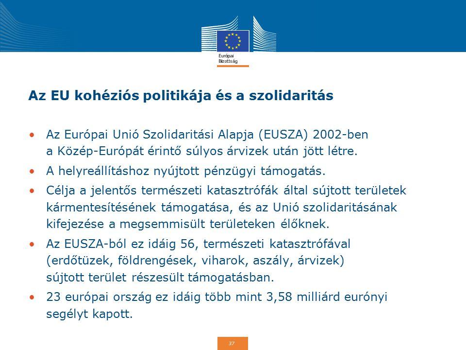 37 Az EU kohéziós politikája és a szolidaritás Az Európai Unió Szolidaritási Alapja (EUSZA) 2002-ben a Közép-Európát érintő súlyos árvizek után jött l