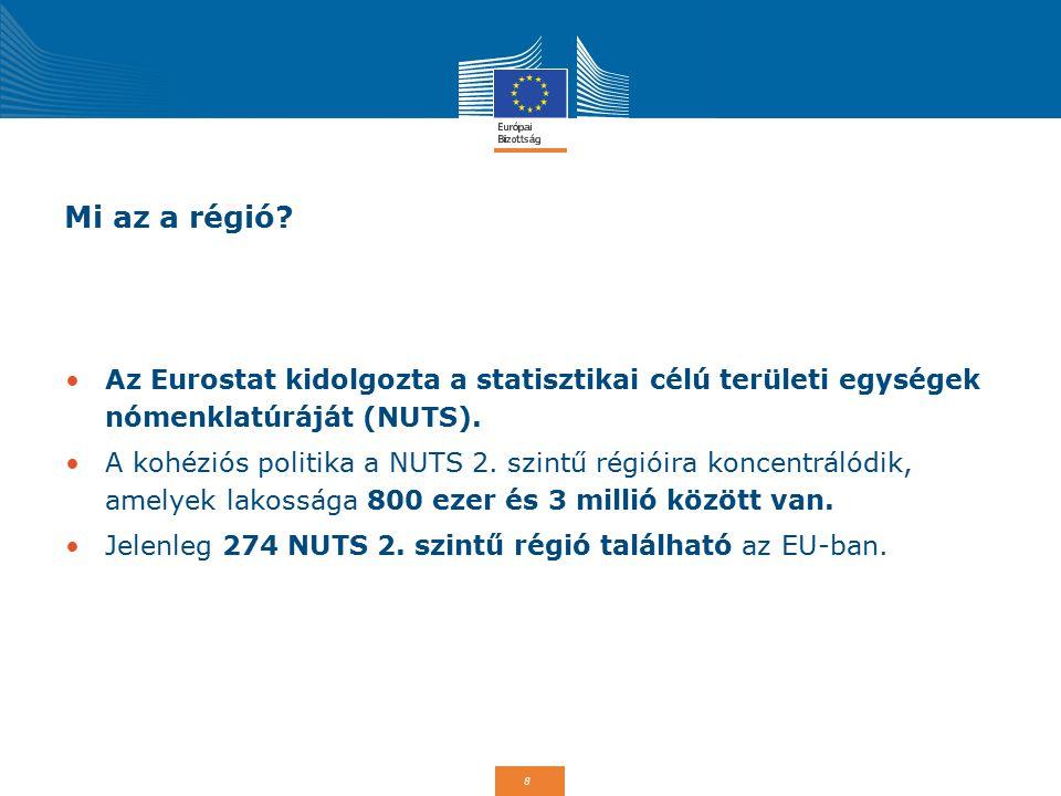 8 Mi az a régió? Az Eurostat kidolgozta a statisztikai célú területi egységek nómenklatúráját (NUTS). A kohéziós politika a NUTS 2. szintű régióira ko