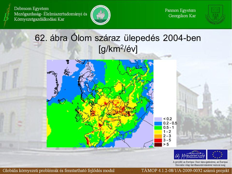 62. ábra Ólom száraz ülepedés 2004-ben [g/km 2 /év]