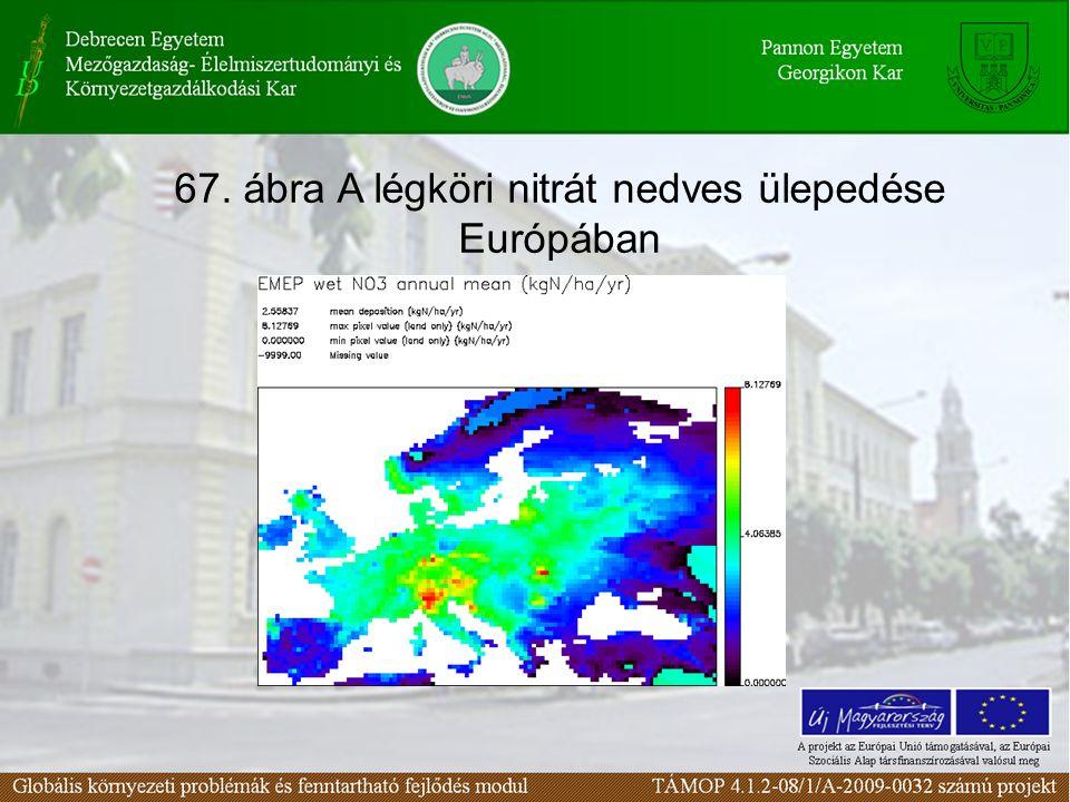 67. ábra A légköri nitrát nedves ülepedése Európában