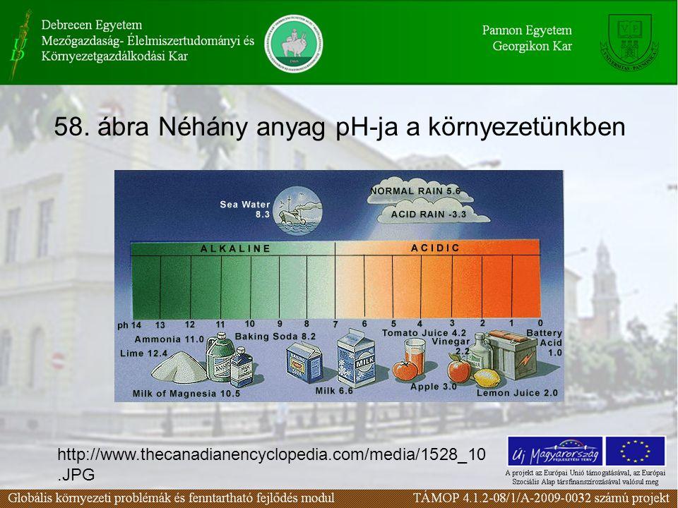 58. ábra Néhány anyag pH-ja a környezetünkben http://www.thecanadianencyclopedia.com/media/1528_10.JPG
