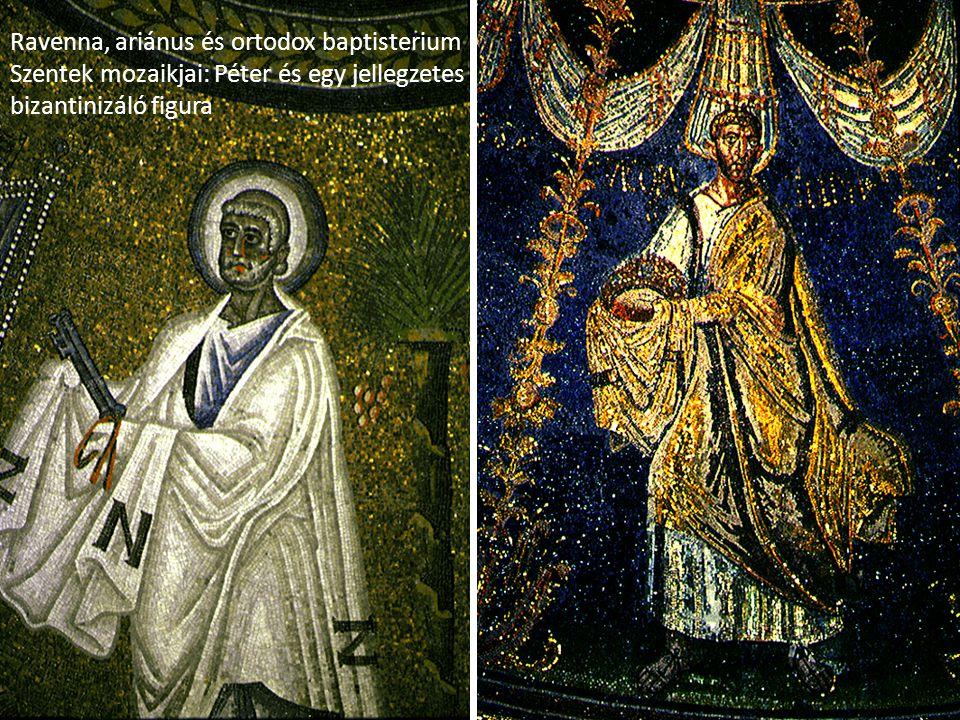 Ravenna, ariánus és ortodox baptisterium Szentek mozaikjai: Péter és egy jellegzetes bizantinizáló figura