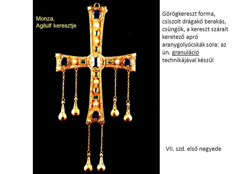 Monza, Agilulf keresztje Görögkereszt forma, csiszolt drágakő berakás, csüngők, a kereszt szárait keretező apró aranygolyócskák sora: az ún. granuláci