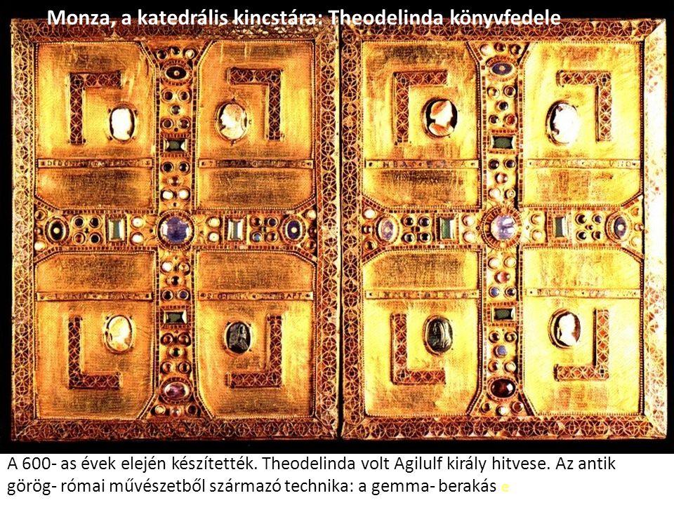 A 600- as évek elején készítették. Theodelinda volt Agilulf király hitvese. Az antik görög- római művészetből származó technika: a gemma- berakás e Mo