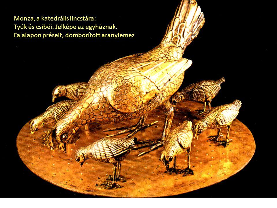 Monza, a katedrális lincstára: Tyúk és csibéi. Jelképe az egyháznak. Fa alapon préselt, domborított aranylemez
