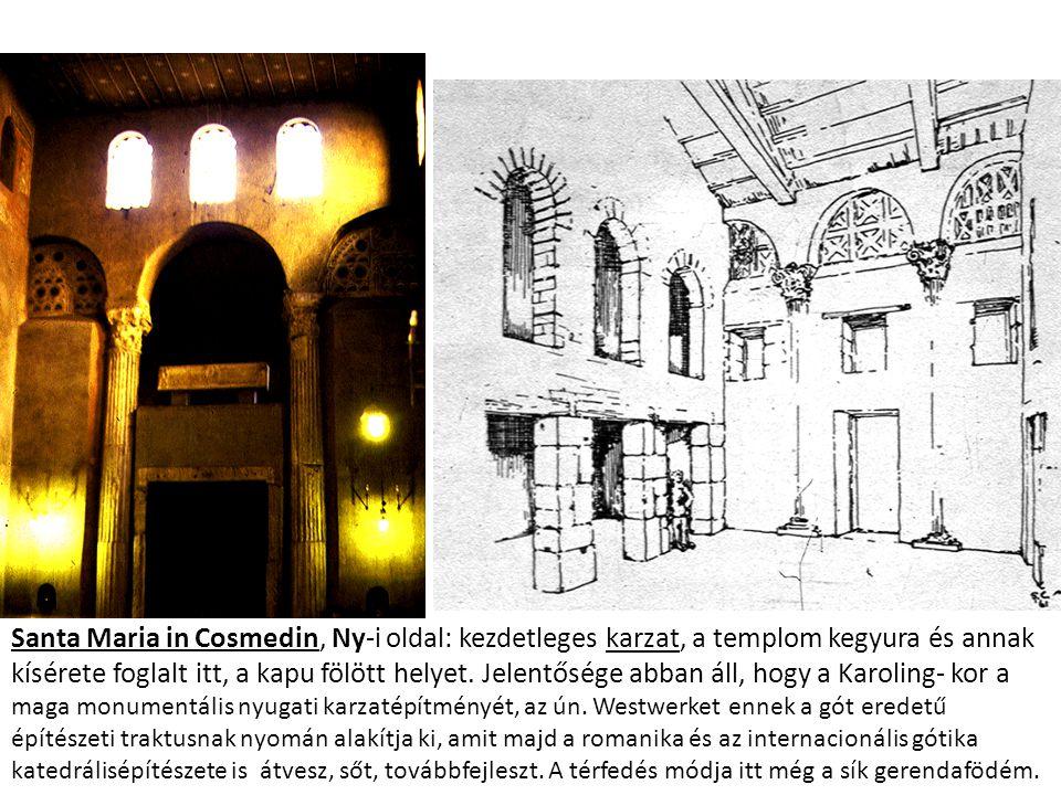 Santa Maria in Cosmedin, Ny-i oldal: kezdetleges karzat, a templom kegyura és annak kísérete foglalt itt, a kapu fölött helyet. Jelentősége abban áll,