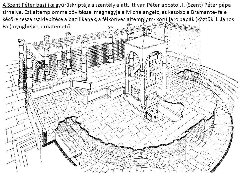 A Szent Péter bazilika gyűrűskriptája a szentély alatt. Itt van Péter apostol, I. (Szent) Péter pápa sírhelye. Ezt altemplommá bővítéssel meghagyja a