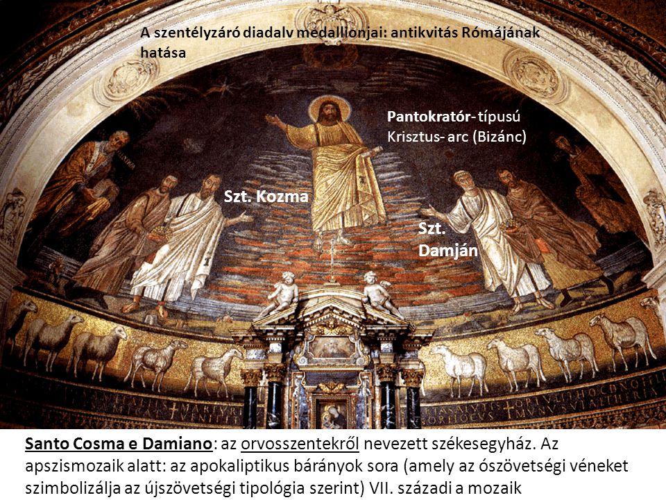 Santo Cosma e Damiano: az orvosszentekről nevezett székesegyház. Az apszismozaik alatt: az apokaliptikus bárányok sora (amely az ószövetségi véneket s