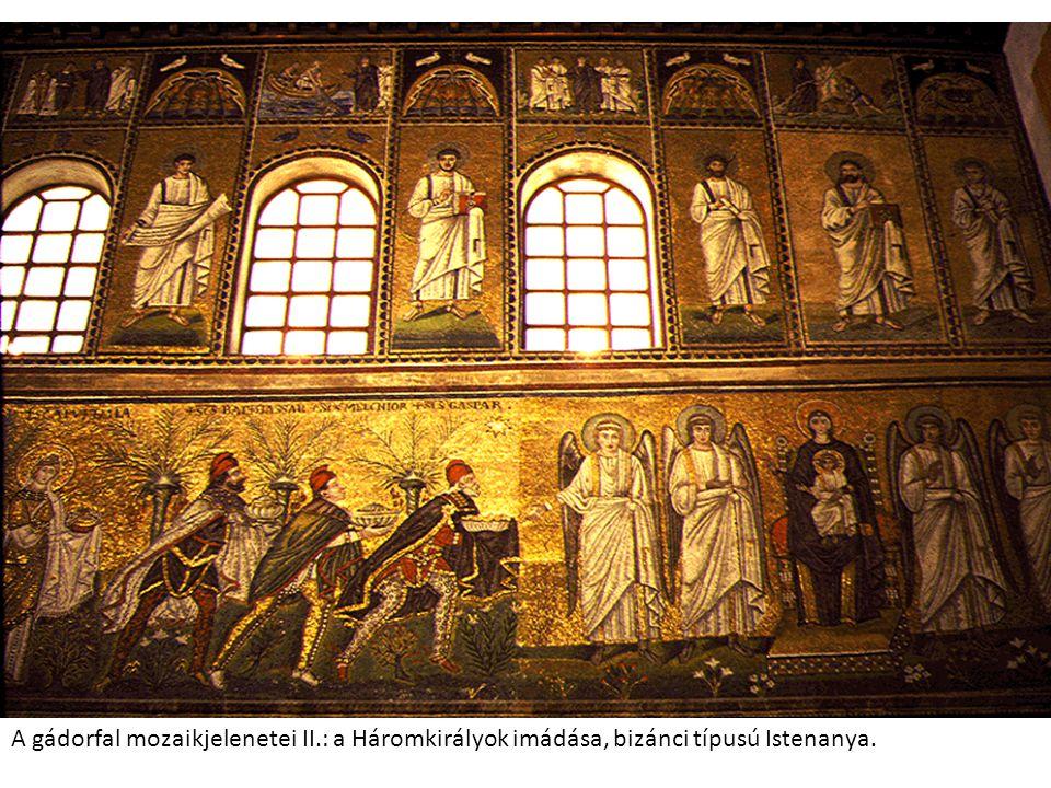 A gádorfal mozaikjelenetei II.: a Háromkirályok imádása, bizánci típusú Istenanya.