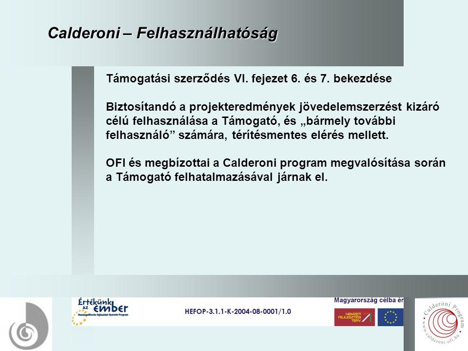 15 Calderoni – Felhasználhatóság Támogatási szerződés VI.