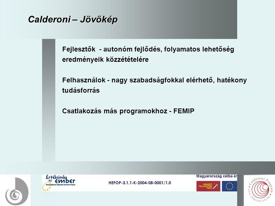 17 Calderoni – Jövőkép Fejlesztők - autonóm fejlődés, folyamatos lehetőség eredményeik közzétételére Felhasználok - nagy szabadságfokkal elérhető, hatékony tudásforrás Csatlakozás más programokhoz - FEMIP