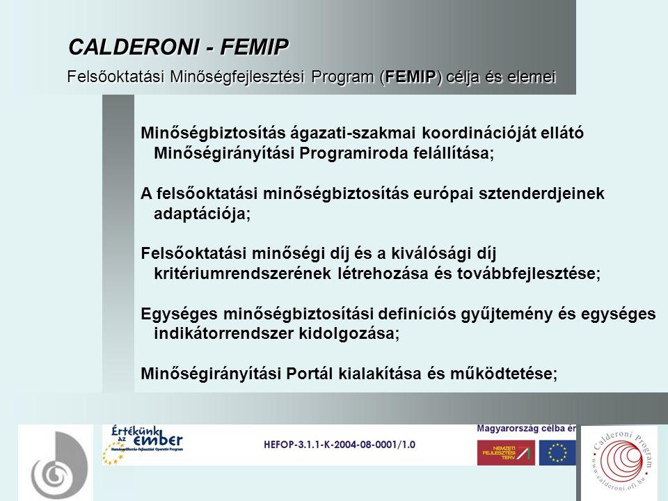 18 CALDERONI - FEMIP Felsőoktatási Minőségfejlesztési Program (FEMIP) célja és elemei Minőségbiztosítás ágazati-szakmai koordinációját ellátó Minőségirányítási Programiroda felállítása; A felsőoktatási minőségbiztosítás európai sztenderdjeinek adaptációja; Felsőoktatási minőségi díj és a kiválósági díj kritériumrendszerének létrehozása és továbbfejlesztése; Egységes minőségbiztosítási definíciós gyűjtemény és egységes indikátorrendszer kidolgozása; Minőségirányítási Portál kialakítása és működtetése;