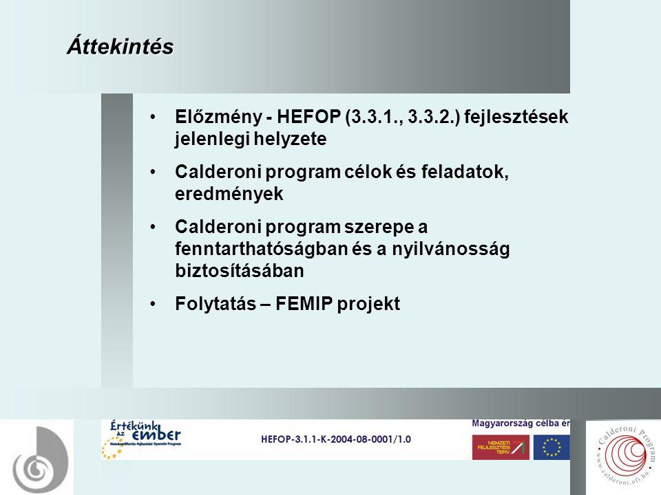 2 Áttekintés Előzmény - HEFOP (3.3.1., 3.3.2.) fejlesztések jelenlegi helyzete Calderoni program célok és feladatok, eredmények Calderoni program szerepe a fenntarthatóságban és a nyilvánosság biztosításában Folytatás – FEMIP projekt