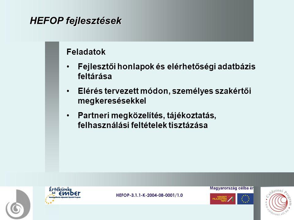 5 HEFOP fejlesztések Feladatok Fejlesztői honlapok és elérhetőségi adatbázis feltárása Elérés tervezett módon, személyes szakértői megkeresésekkel Partneri megközelítés, tájékoztatás, felhasználási feltételek tisztázása