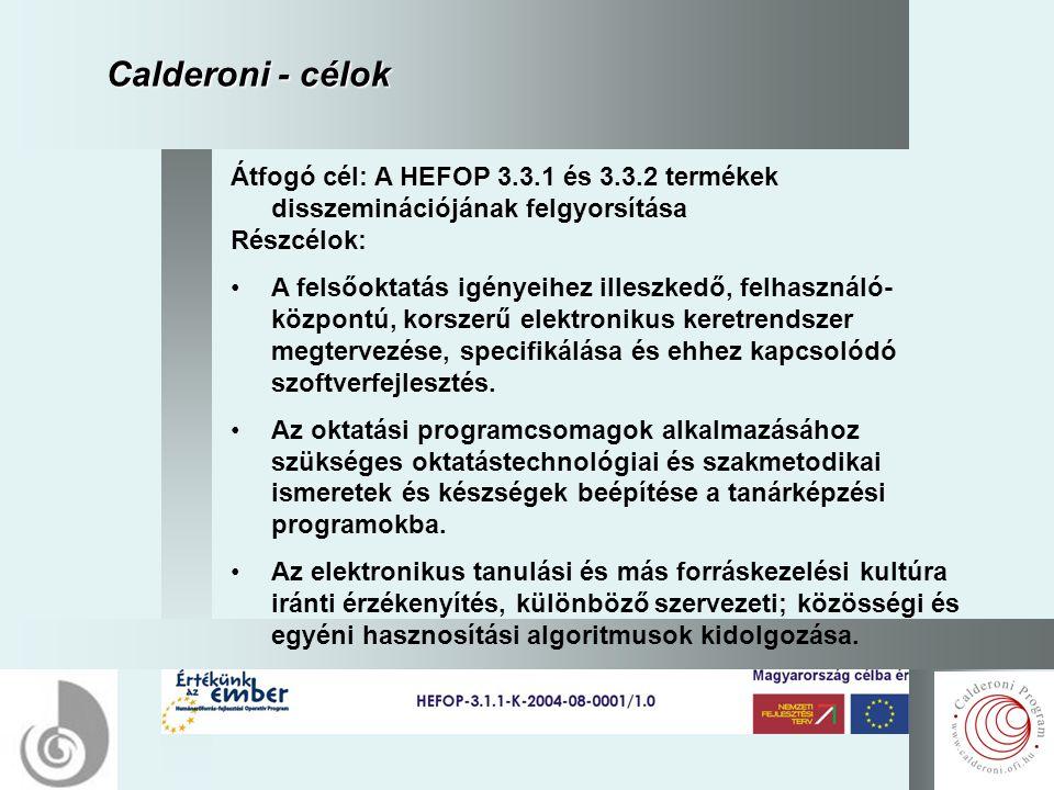 6 Calderoni - célok Átfogó cél: A HEFOP 3.3.1 és 3.3.2 termékek disszeminációjának felgyorsítása Részcélok: A felsőoktatás igényeihez illeszkedő, felhasználó- központú, korszerű elektronikus keretrendszer megtervezése, specifikálása és ehhez kapcsolódó szoftverfejlesztés.