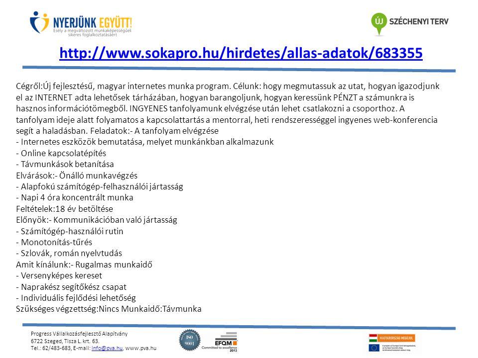 Progress Vállalkozásfejlesztő Alapítvány 6722 Szeged, Tisza L. krt. 63. Tel.: 62/483-683, E-mail: info@pva.hu, www.pva.huinfo@pva.hu http://www.sokapr