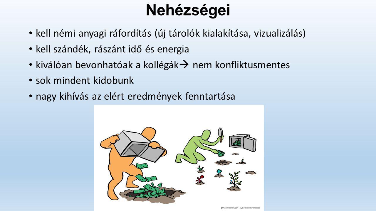 Nehézségei kell némi anyagi ráfordítás (új tárolók kialakítása, vizualizálás) kell szándék, rászánt idő és energia kiválóan bevonhatóak a kollégák  n