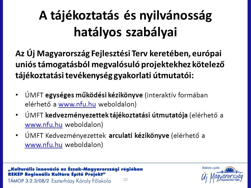 A tájékoztatás és nyilvánosság hatályos szabályai Az Új Magyarország Fejlesztési Terv keretében, európai uniós támogatásból megvalósuló projektekhez k