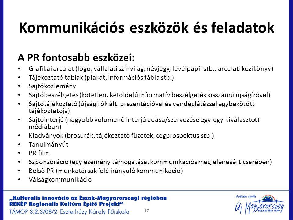 Kommunikációs eszközök és feladatok A PR fontosabb eszközei: Grafikai arculat (logó, vállalati színvilág, névjegy, levélpapír stb., arculati kézikönyv