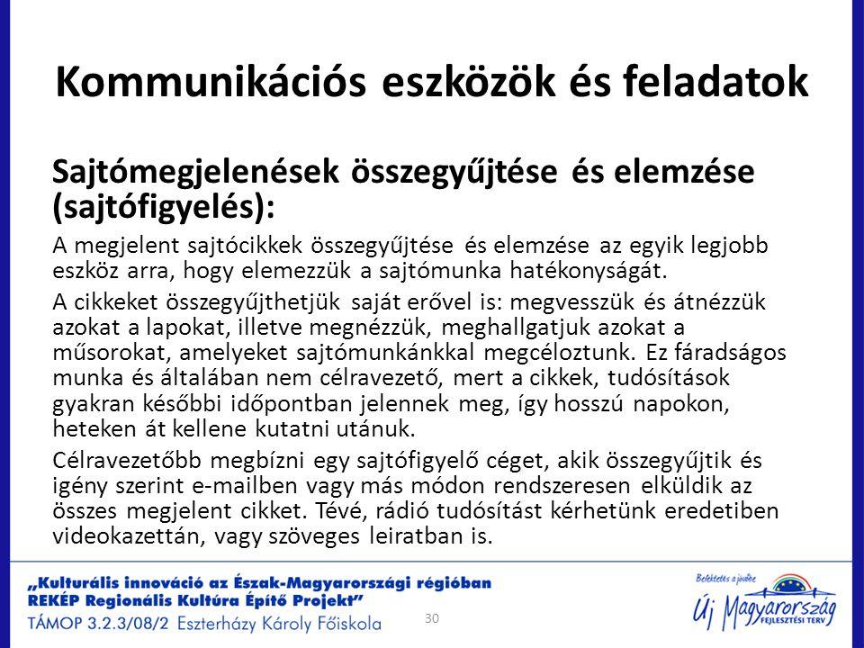 Kommunikációs eszközök és feladatok Sajtómegjelenések összegyűjtése és elemzése (sajtófigyelés): A megjelent sajtócikkek összegyűjtése és elemzése az
