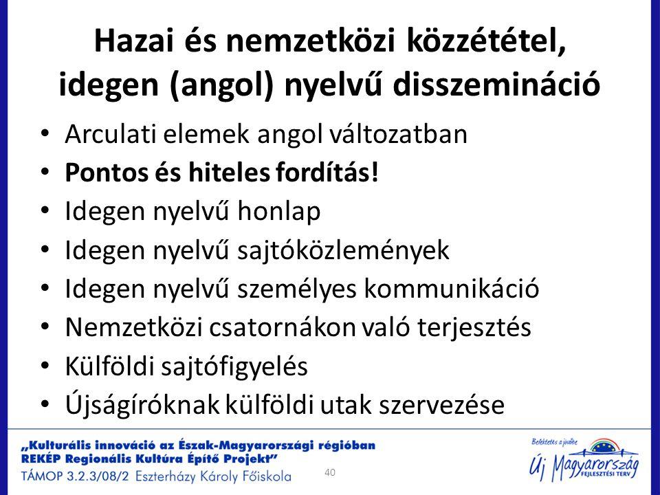 Hazai és nemzetközi közzététel, idegen (angol) nyelvű disszemináció Arculati elemek angol változatban Pontos és hiteles fordítás! Idegen nyelvű honlap