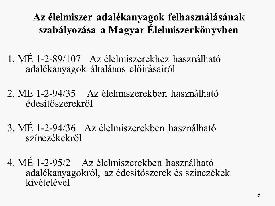 Az élelmiszer adalékanyagok felhasználásának szabályozása a Magyar Élelmiszerkönyvben 1.