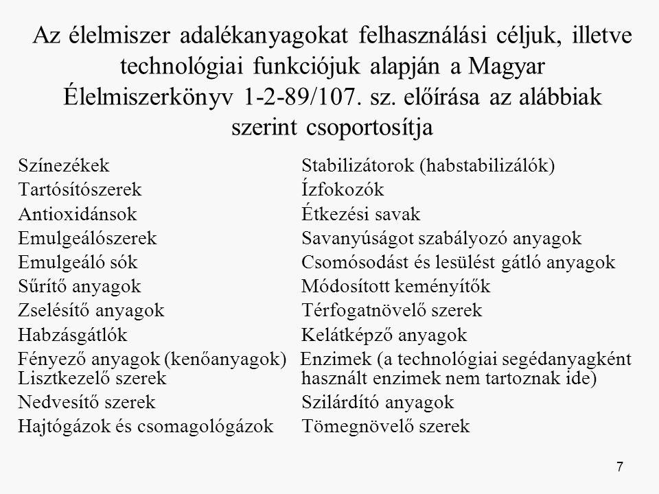 Az élelmiszer adalékanyagokat felhasználási céljuk, illetve technológiai funkciójuk alapján a Magyar Élelmiszerkönyv 1-2-89/107.