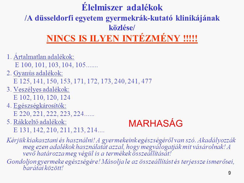 Élelmiszer adalékok /A düsseldorfi egyetem gyermekrák-kutató klinikájának közlése/ NINCS IS ILYEN INTÉZMÉNY !!!!.
