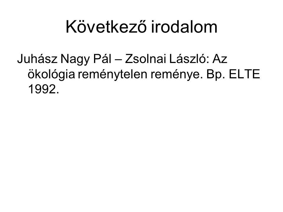 Következő irodalom Juhász Nagy Pál – Zsolnai László: Az ökológia reménytelen reménye. Bp. ELTE 1992.