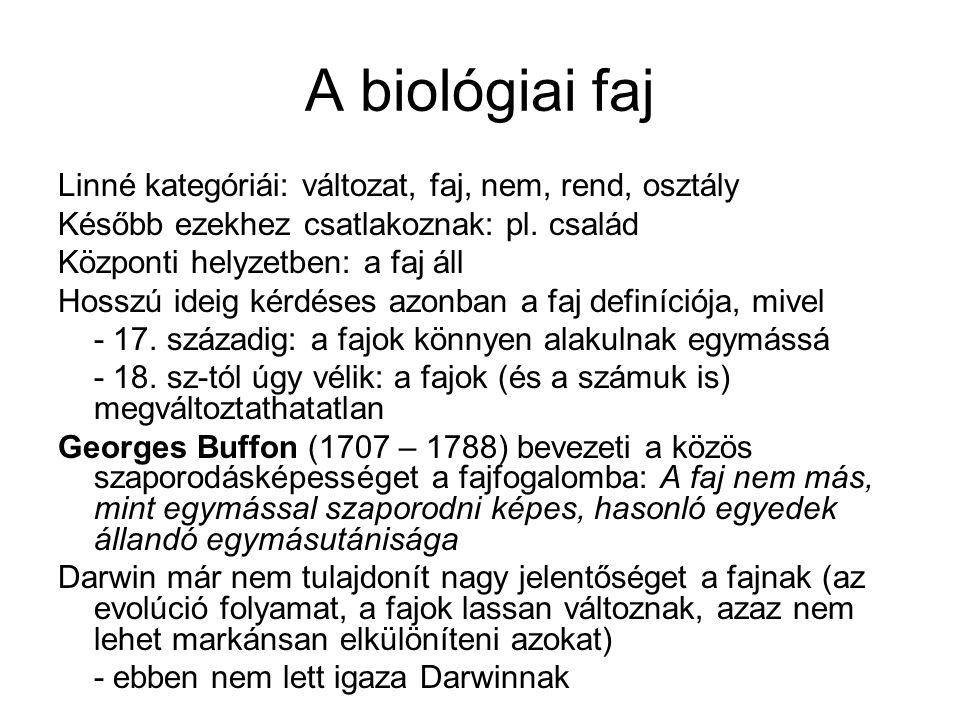A biológiai faj Linné kategóriái: változat, faj, nem, rend, osztály Később ezekhez csatlakoznak: pl. család Központi helyzetben: a faj áll Hosszú idei