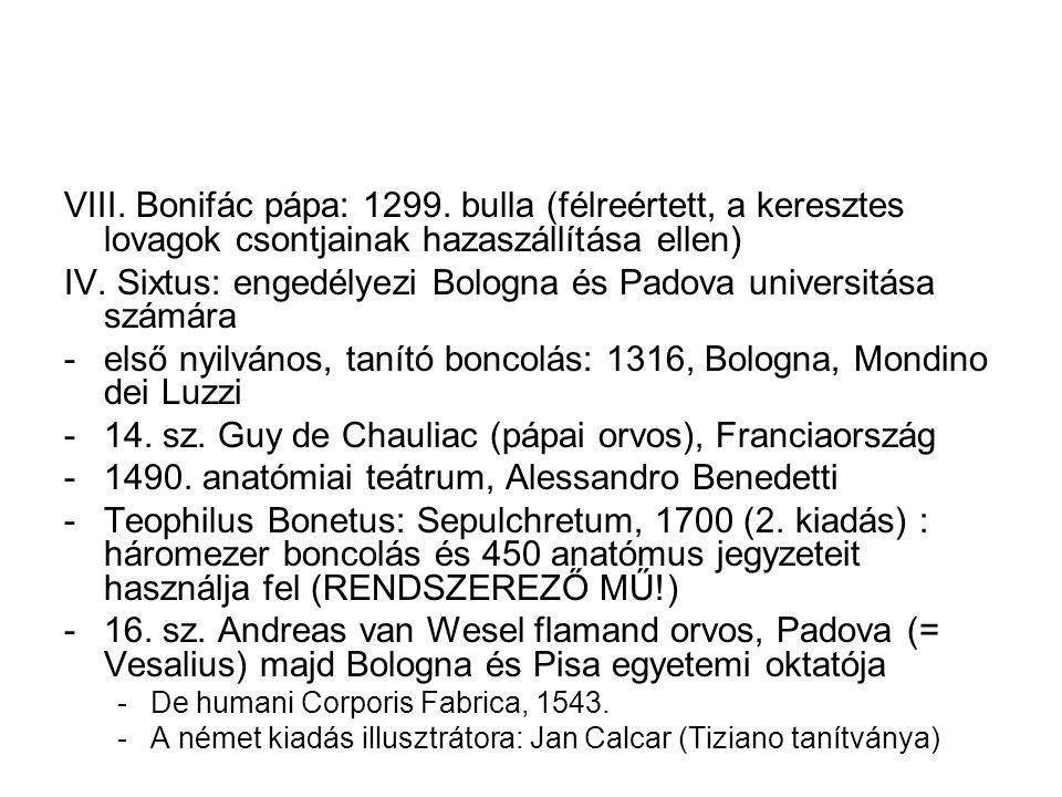 VIII. Bonifác pápa: 1299. bulla (félreértett, a keresztes lovagok csontjainak hazaszállítása ellen) IV. Sixtus: engedélyezi Bologna és Padova universi