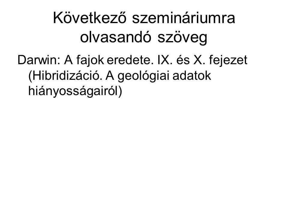 Következő szemináriumra olvasandó szöveg Darwin: A fajok eredete. IX. és X. fejezet (Hibridizáció. A geológiai adatok hiányosságairól)