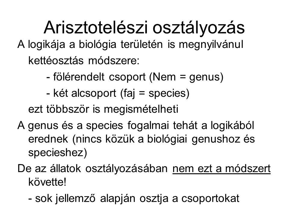 Arisztotelészi osztályozás A logikája a biológia területén is megnyilvánul kettéosztás módszere: - fölérendelt csoport (Nem = genus) - két alcsoport (
