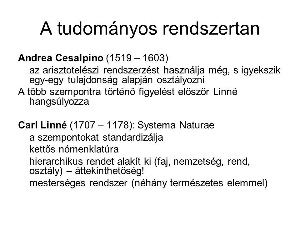 A tudományos rendszertan Andrea Cesalpino (1519 – 1603) az arisztotelészi rendszerzést használja még, s igyekszik egy-egy tulajdonság alapján osztályozni A több szempontra történő figyelést először Linné hangsúlyozza Carl Linné (1707 – 1178): Systema Naturae a szempontokat standardizálja kettős nómenklatúra hierarchikus rendet alakít ki (faj, nemzetség, rend, osztály) – áttekinthetőség.