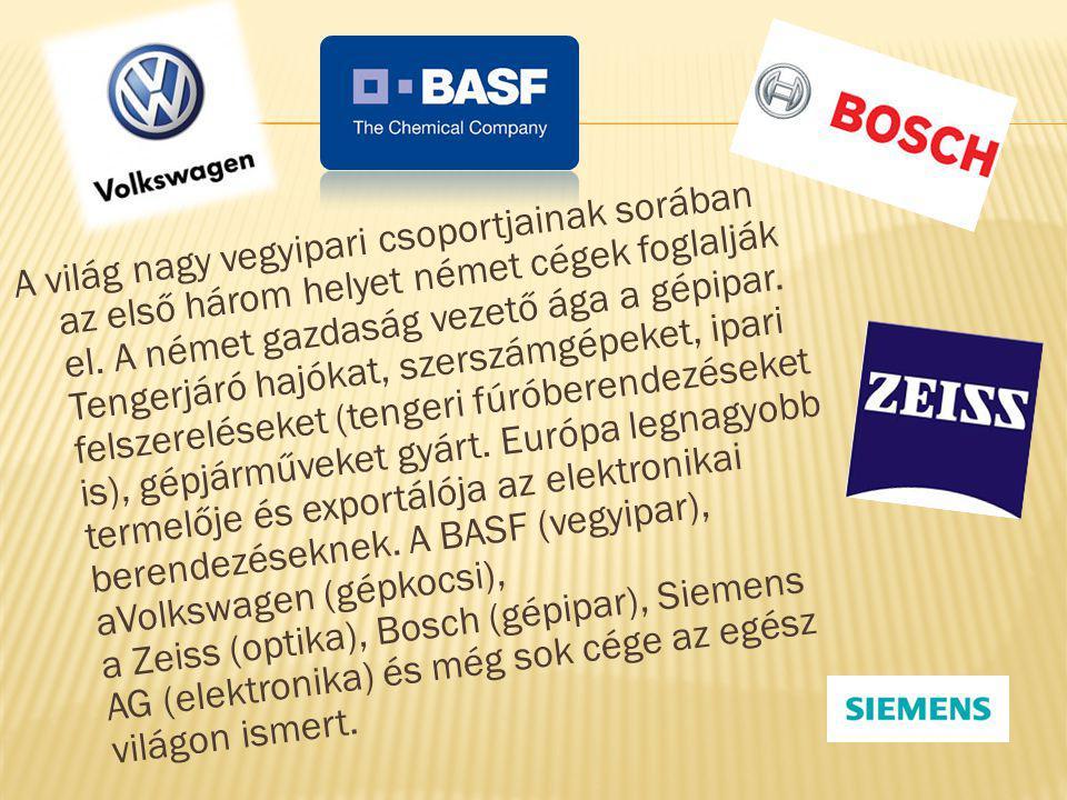 A világ nagy vegyipari csoportjainak sorában az első három helyet német cégek foglalják el. A német gazdaság vezető ága a gépipar. Tengerjáró hajókat,