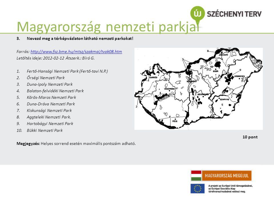 Magyarország vízrajza Megjegyzés: Minden jó megoldás 1 pontot ér. 3.Magyarország vaktérképe mely vízfolyásokat jelöli? 1. Kapos10.Mura 2. Dráva11.Maro