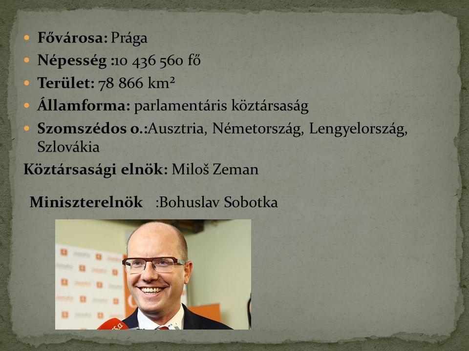 Fővárosa: Prága Népesség :10 436 560 fő Terület: 78 866 km² Államforma: parlamentáris köztársaság Szomszédos o.:Ausztria, Németország, Lengyelország,