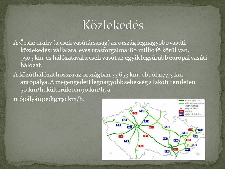 A České dráhy (a cseh vasútársaság) az ország legnagyobb vasúti közlekedési vállalata, eves utasforgalma 180 millió fő körül van. 9505 km-es hálózatáv