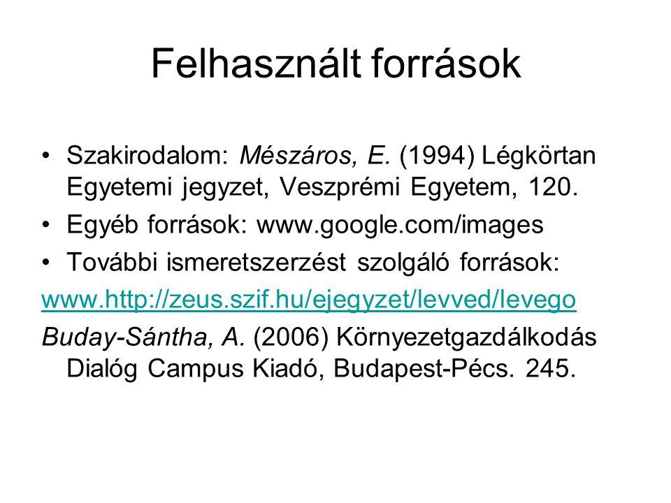 Felhasznált források Szakirodalom: Mészáros, E.