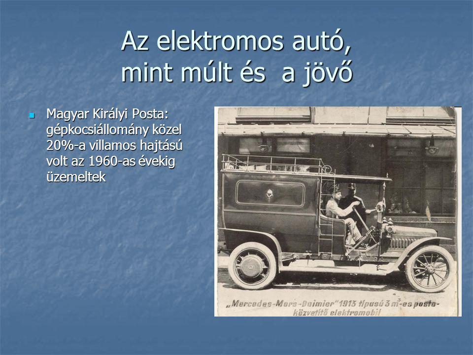 Az elektromos autó, mint múlt és a jövő Magyar Királyi Posta: gépkocsiállomány közel 20%-a villamos hajtású volt az 1960-as évekig üzemeltek Magyar Ki