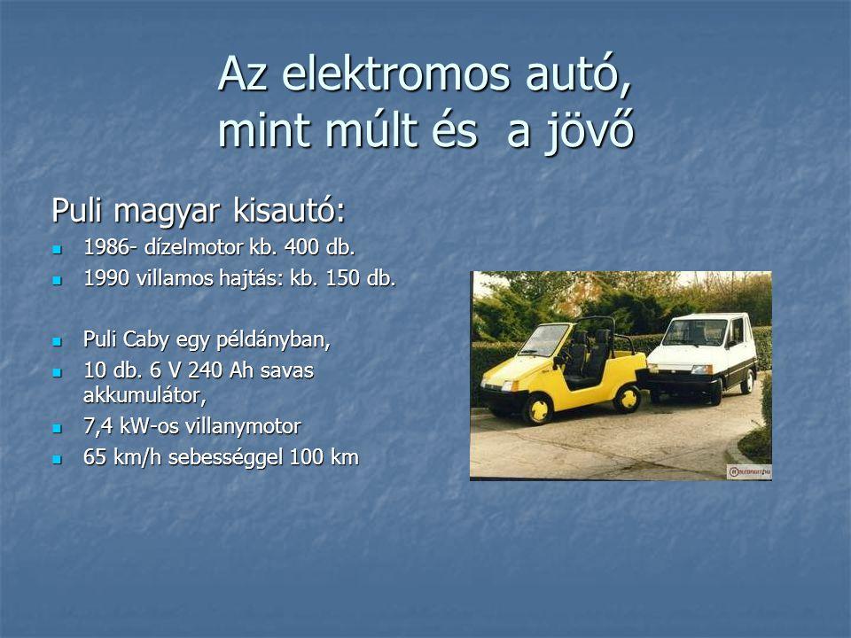 Az elektromos autó, mint múlt és a jövő Puli magyar kisautó: 1986- dízelmotor kb. 400 db. 1986- dízelmotor kb. 400 db. 1990 villamos hajtás: kb. 150 d