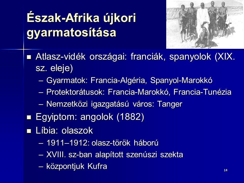 1414 Észak-Afrika újkori gyarmatosítása Atlasz-vidék országai: franciák, spanyolok (XIX. sz. eleje) Atlasz-vidék országai: franciák, spanyolok (XIX. s