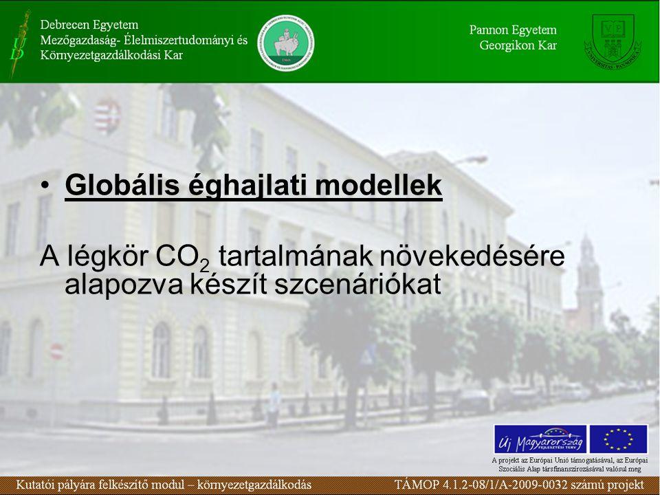 Globális éghajlati modellek A légkör CO 2 tartalmának növekedésére alapozva készít szcenáriókat