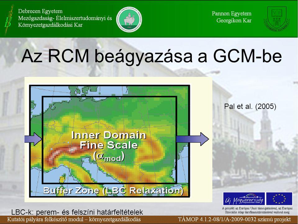 Az RCM beágyazása a GCM-be LBC-k: perem- és felszíni határfeltételek Pal et al. (2005)